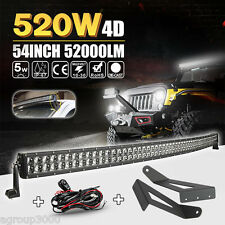 54inch Curved LED Light Bar + Mount Brackets Fit For Ford F250 F350 Super Duty