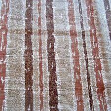 45CM X 62CM VINTAGE Cotton Curtain fabric 1950s Brown Gold Stripe Barkcloth MCM