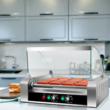 Commercial 11 Roller 30 Hot Dog Grill Cooker Machine Stainless Steel With Cover Ce