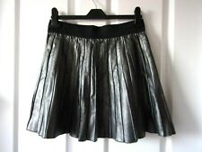 Leather Look Skirt Size 12.Silver Grey.Flared Sunray Style.Mini.