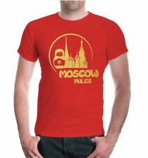 Herren Unisex Kurzarm T-Shirt Moscow Rules Silhouette Moskau Russland City Stadt