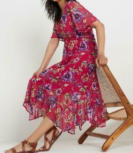 JOE BROWNS LADIES RUFFLE HEM PRINTED DRESS PINK FLORAL NEW (ref 715)