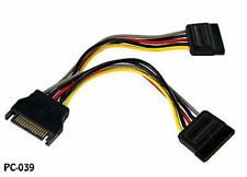 6in SATA Power 15-Pin Male to 2-Female Y Splitter Cable Adapter, PC-039
