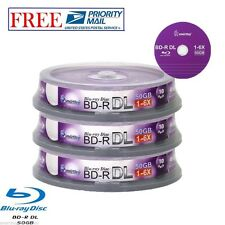 30 Pack Smartbuy Logo Top Blu-ray BD-R BDR DL Dual Layer 6X 50GB Recordable Disc
