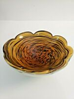 Vintage Murano Style Art Glass Brown and Gold Swirl Bowl Centerpiece Dish Decor