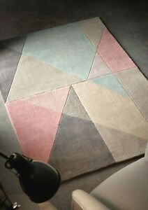 Origins Trio Pastel Pink Block Abstract Modern Rug Barely Any Shed 120x 170cm