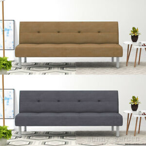 Faux Suede Fabric 3 Seate Sofa Bed Designer Click-Clack Sofabed in 4 Colours