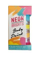 NEON   BRIGHT BODY PAINT   ART MAKEUP  4 COLOR POT SET  NEW IN BOX