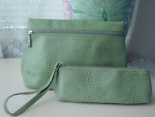 2pc Clinique Snakeskin Green Cosmetic Bag & Wristlet
