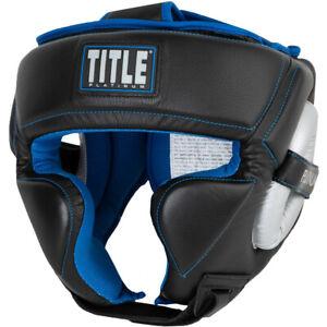 Title Boxing Platinum Perilous Training Headgear - Black/Silver/Blue