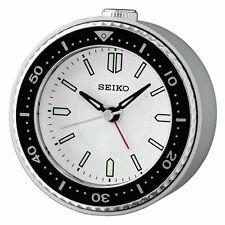 Seiko Qhe184J White/Black Alarm Clock Watch Sobremesa