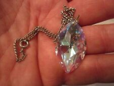 """LARGE SPARKLING CRYSTAL PENDANT WITH SILVER PLATED CHAIN - 16"""" - TUB BBA"""