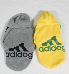 2pk Adidog Dog Hoodie 2 Legs Jumpsuit Puppy Hoodies Sports Outfits Yellow & Grey