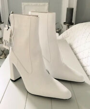 Ladies Zara Leather High Heel Ankle Boots With Zip White UK6 BNWT RRP £95.99
