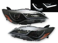 Eagle Eyes Black Headlights w/ LED Tube Bar for 2015-2016 Toyota Camry LE SE