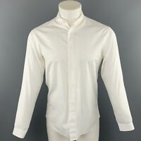 DIOR HOMME Size S White Solid Cotton Button Up Long Sleeve Shirt