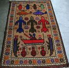 Classic Afghan Decor Wall Hanging Top Tank Pictorial War Rug150 x95 cm