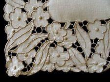"""AMAZING Vtg MADEIRA Linen Runner 43"""" Hand Embroidered Richelieu Cutwork PRISTINE"""