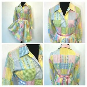 Vintage Patchwork Dress size S M Pastel Gingham 1970s Shirtwaist Full Skirt DS3
