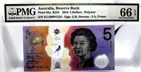 AUSTRALIA  $5 DOLLARS 2016 RESERVE BANK POLYMER GEM UNC PICK 62 a VALUE $66