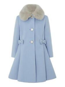 Monsoon Girls Blue Bow Princess Coat Fur Dress Jacket Age 3 to 13 Years NEW