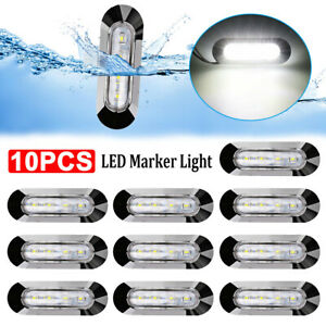 10X SMD White 4LED Side Clearance Marker Light Truck Tail Trailer Chrome Lamp AU