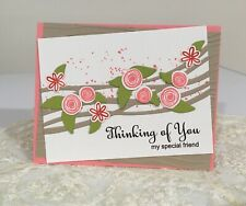 Handmade Thinking of You Floral Card; Gift for Her; Female Birthday Card