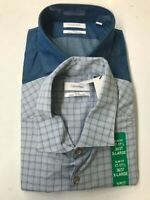 NEW Calvin Klein Men's 2 Pack Slim Fit Stretch Dress Shirt