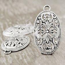 5pcs Antique Tibetan Silver Pendant Charm Supplies Jewelry Oval 45x26x5mm TS3395