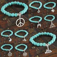 New Charm Turquoise Beads Pendant Bracelet Bangle Angel Yin Yang Heart Gemstone