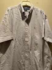 Men's XL Ralph Lauren Blake Gray Dress Shirt Button Up Short Sleeve Cotton