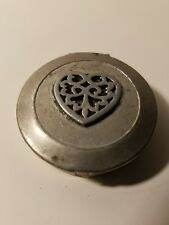 Vintage round snuff box or pill box with ornate heart design