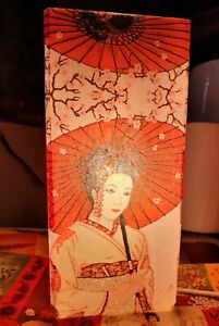 Frosted Glass Geisha Table Lamp without Base Handmade Gift Decoupage Home Decor