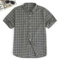 New Mens Soft Short Sleeve Button Down T-shirt Tops Slim Fit Casual Dress Shirts