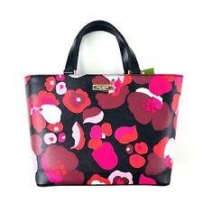 Kate Spade Pink Black Floral Juno Grant Street Grainy Vinyl Tote Satchel Handbag