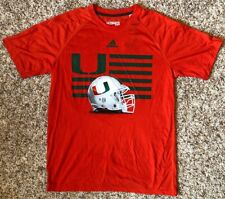 Miami Hurricanes Football adidas Men's Short Sleeve Ultimate Tee Orange Large