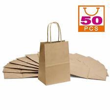 "Brown Kraft Paper Bags Small Craft Gift Bags 50pcs 5""x3.75""x8"" Shopping bags"