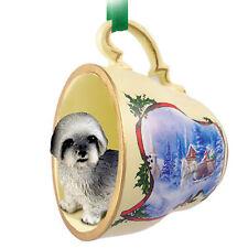 Lhasa Apso Dog Christmas Holiday Teacup Ornament Figurine Gray Sport