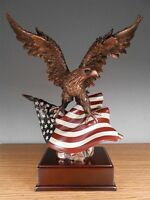 BACK IN STOCK - Eagle On Flag 12 x 15 Beautiful Bronze Statue / Sculpture NIB