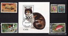 134T1 TANZANIE 1 bloc et 5 timbres obliteres::chat,singe,tortue,poissons