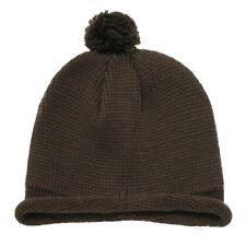 Brown Solid Roll Up Beanie Pom Pom Winter Ski Hat Cap Warm Skull Knit Beanies