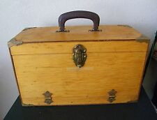 1940'S WOOD TACKLE  BOX BRASS CORNERS DROP DOWN FRONT WITH 2 REELS & STUFF NICE