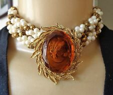 Vintage Long Faux Pearl Cluster Necklace & Reverse Carved Glass Cameo Brooch Lot