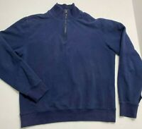 $350 Ralph Lauren Purple Label Blue Half zip Fleece Size M Made In Italy