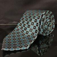 """Men's STAFFORD Blue & Black sqaure geometric cool Tie """"VERY NICE"""""""