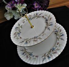 """Royal Albert """"BRIGADOON"""" 2 Tier 10"""" + 8"""" Plates Cake Stand unused Condition"""