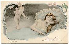 JOLIE FEMME.  LOVELY  WOMEN . ART NOUVEAU. ANGE. CUPIDON. ANGEL. CUPID. N°2