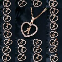 26 Letters Alphabet A-Z Rose Gold Crystal Love Heart Pendant Necklace Jewelry