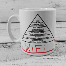 THE MODERN MASLOW HIERARCHY OF HUMAN NEEDS PSYCHOLOGY GIFT MUG CUP WIFI INTERNET