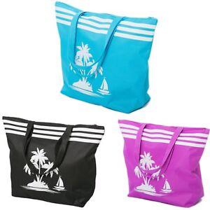 Beach Bag Womens Ladies Tote Bags Summer Extra Large Shoulder Shopper Zip Blue